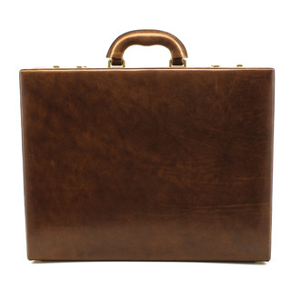 Amalfi Grande Leather Attache Case PI010204 | Color Brown | Front