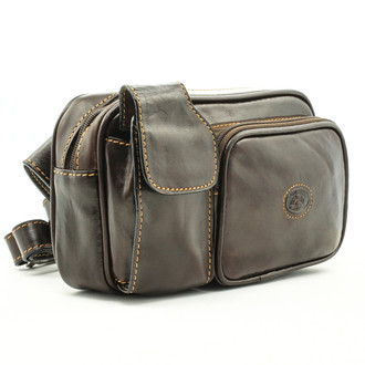 Tony Perotti Italian Leather Lucca Waist Pack - brown left angle view