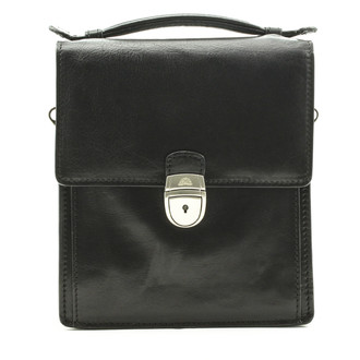 Tony Perotti Italian Leather Rovigo Vertical Flap-Over Carry All Bag - black