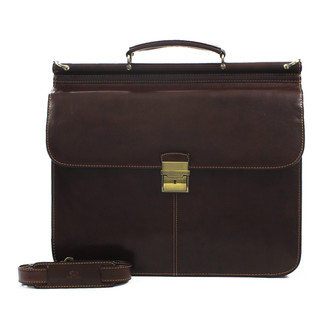 Forum Flap over Double Compartment Laptop Case in Brown