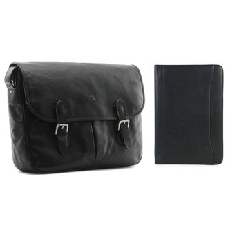 "Tony Perotti Mens Italian Leather Lorenzo Messenger Laptop Bag and 8.5x11"" Business Writing Padfolio Combo w/ Free Gift"