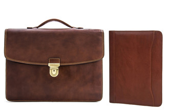 "Tony Perotti Italian Leather Alfero Single Compartment Document Briefcase and 8.5x11"" Business Writing Padfolio Combo w/ Free Gift"