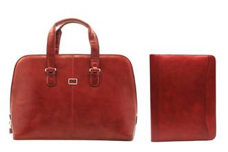"Tony Perotti Womens Italian Leather Classic Zip-Around Laptop Tote Bag and 8.5x11"" Business Writing Padfolio Combo w/ Free Gift"