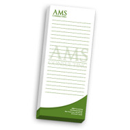 Notepads are printed on 70lb text with maximum brightness, with a chipboard backer. Production time is 4-6 business days.