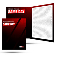 Our same day printing for brochures are printed on 100lb gloss text paper and then scored and folded. Bindery takes 1-2 business days,