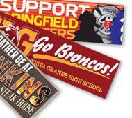 Bumper Stickers printed on 4mil vinyl are weather resistant and intended for outdoor use.