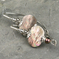 Black Mother of Pearl & Freshwater Pearl Earrings