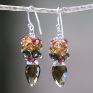 Honey Topaz, Tourmaline & Garnet Earring