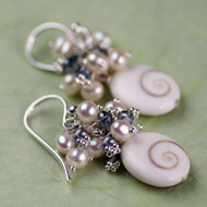 Turbo shell, Pearl & Quartz earring