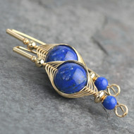 Lapis Wire Wrapped Earring