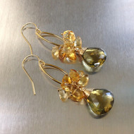 Olivine Quartz & Citrine Earrings