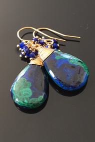 Azurmalachite tear with Lapis accents