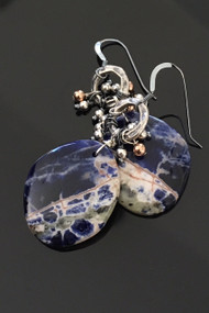 Sunset Sodalite with Hammered Sterling