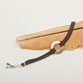 Hammered Hoop & Leather Bracelet