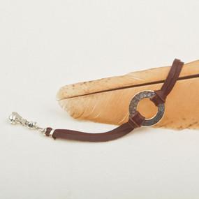 Hammered Hoop & Leather Bracelet