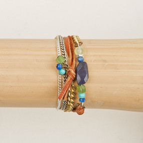 Multi Chain, Leather & Stone Bracelet