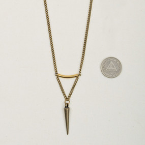 Bronze Tube & Spike Long Necklace*