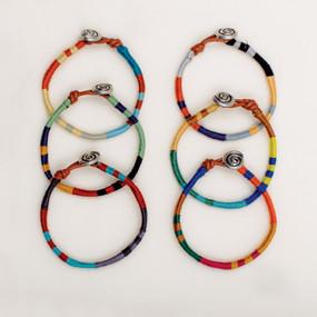Wrapped Leather Colorblock Bracelet