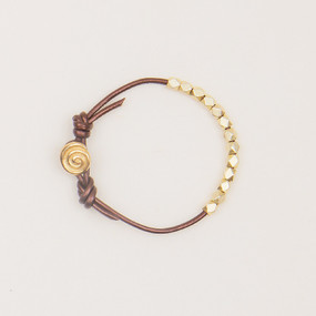 Leather & Faceted Metal Bracelet