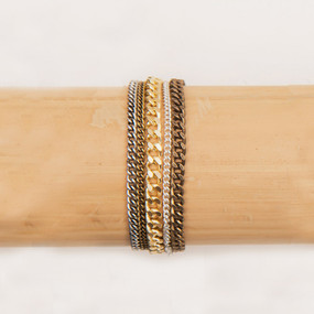 Triple Wrap Mixed Metal Chain Bracelet*