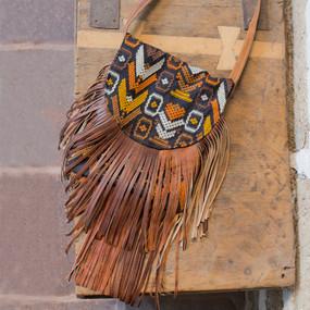 Brocade Corte Bag with Leather Fringe*