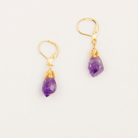 Amethyst & Citrine Crystal Drop Earrings
