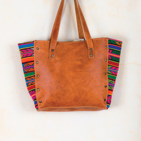 Boho Leather Tote with Handwoven Sides