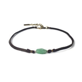 Leather & Faceted Stone Choker