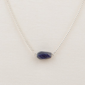 Silver Faceted Stone Chain Necklace