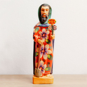 Saint Fiacre Gardener Statue Handcarved Wood