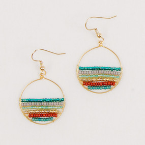 Small Gold Hoop with Beads