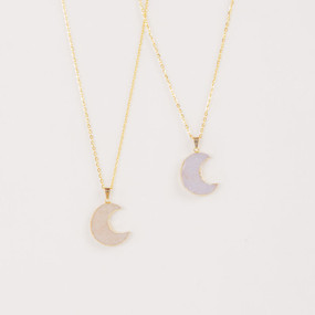 Short Druzy Crescent Moon Necklace