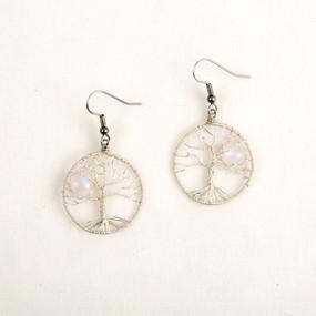 Moonstone Moonlit Tree Earring