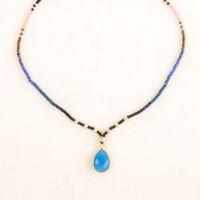 Beaded Faceted Stone Pendant