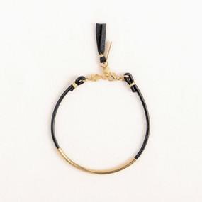 Leather & Metal Bar Bracelet