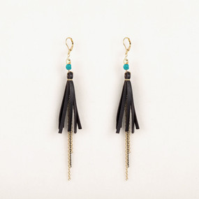 Tassel with Turquoise Nugget Earring