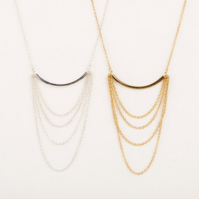 Metal Bar with Chain Loops Necklace