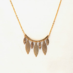 Metal Bar with Hammered Leaves Necklace