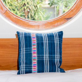 Double Sided Indigo Denim Corte Pillow with Embroidery