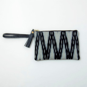 Ikat & Leather Clutch