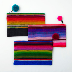 Bright Stripe Handwoven  Cosmetic