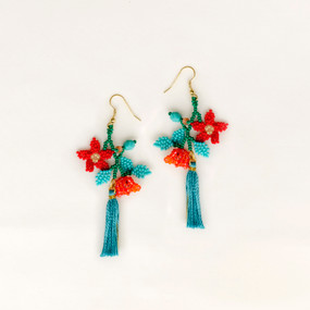 Flowers with Tassel Earring