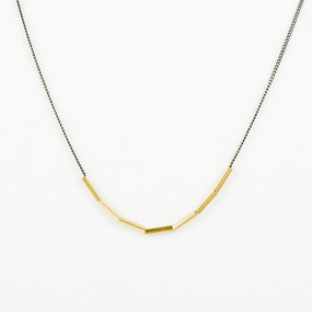 Black & Bronze Tube Necklace