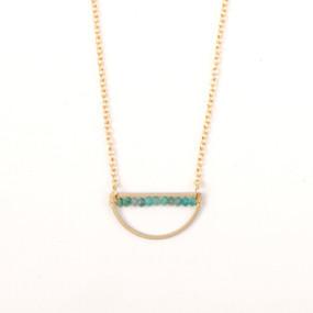 Chrysocolla Rondell Half Moon Necklace