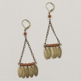 Stone & Bronze Triangle Dangle Earrings