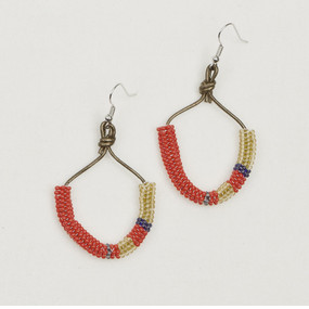 Half Moon Tube & Leather Earrings