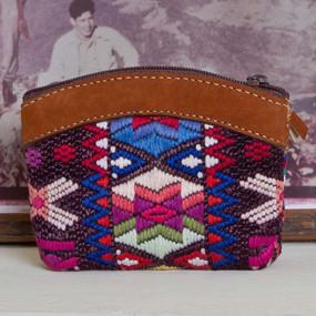 Leather & Huipile Change Purse