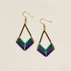 Chevron Bead & Chain Earrings