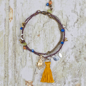 Mixed Media Tassel & Stone Bracelet