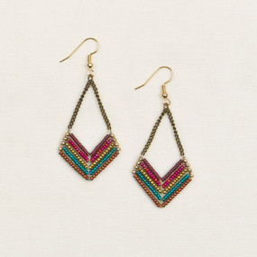 Beaded Chevron & Chain Earrings